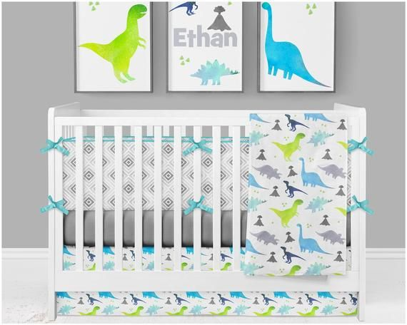 Baby Boy Crib Bedding Dinosaur Nursery Blue Baby Bedding Lime Green Personalized Crib Sheet Crib Bumpers Nursery Art Baby Blanket Cunas De Nina Bebe Protectores De Cuna Ropa De Cama Para