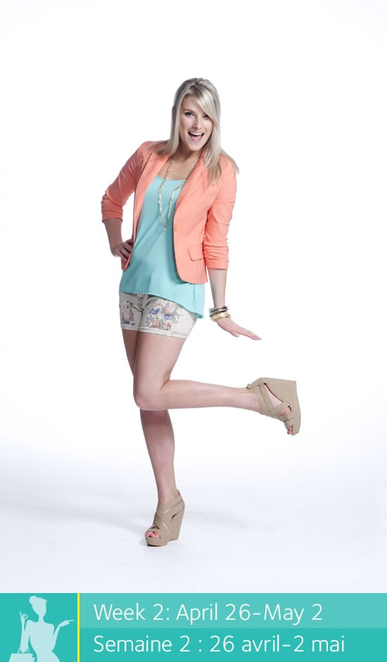 Enter to win a $500 shopping spree at Place dOrléans at www.facebook.com/placedorleans. #pdopinupgirls @Place d'Orleans #eclipsestoresinc. Get this look at Eclipse! Blazer, tank top, shorts, sunglasses, necklace and bangles.