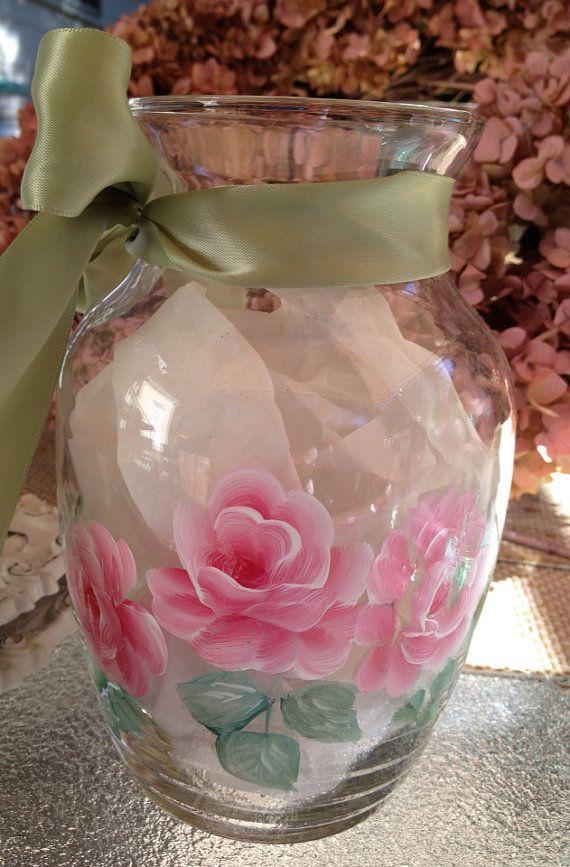 Hand painted shabby roses vase by pinkrelish on Etsy, $15.99