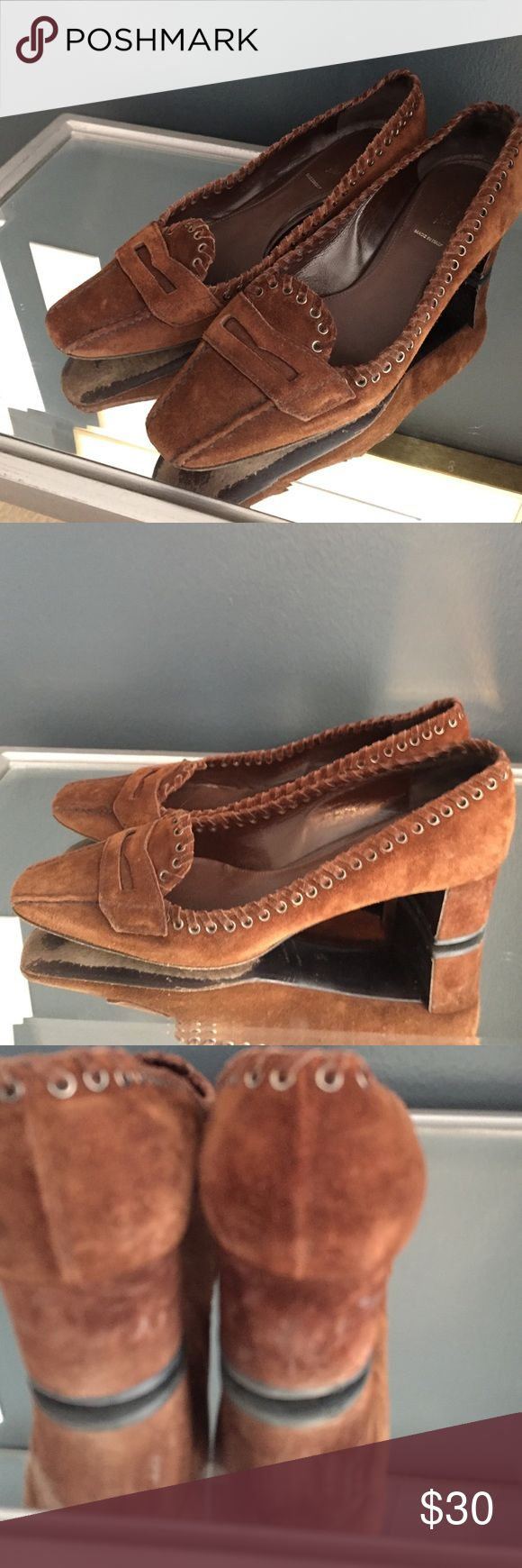 Prada low heeled  loafers These brown suede Prada loafers have cool top stitching detailing. A little worn at the heels, but still in overall good condition. Prada Shoes Flats & Loafers