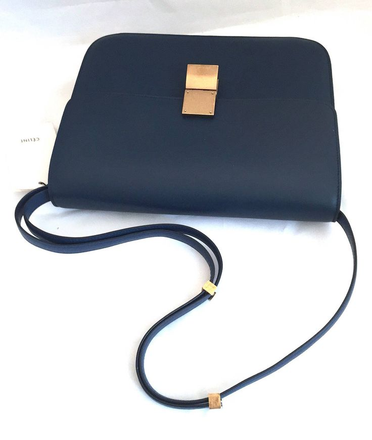 New Celine Large Navy Leather Box Bag With Tags | Box Bag, Celine ...