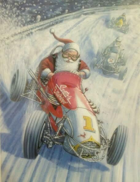 Merry Christmas Sprint Car Santa