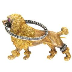 Antique French Diamond Gold Poodle Brooch