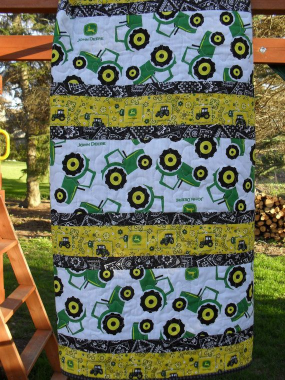 "John Deere baby quilt, 40"" x 55"". Quilt available for purchase at www.etsy.com/shop/sewingatten. Click on photo for more info.  #wisconsinmade  #madeinwisconsin"