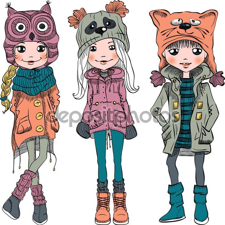 Векторный набор милые девушки в смешные шляпы — стоковая иллюстрация #95367016