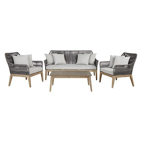 Buy John Lewis Leia 3-Seater Sofa, Coffee Table and Lounging Armchair Pair, FSC-Certified (Eucalyptus Grandis), Grey Online at johnlewis.com