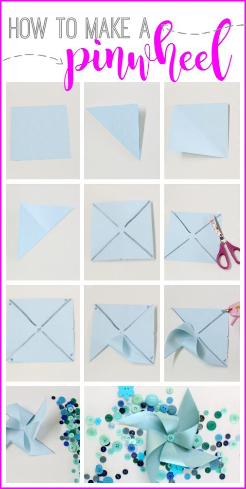 How to make a paper pinwheel. I had no idea they were so simple!