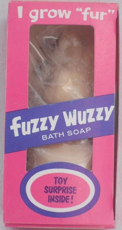 """This made bath time fun when I was little. The picture is not good but it was a little bear shaped soap that got """"fuzzy"""", in a good way when it got wet.  Obviously this package was not sealed well."""