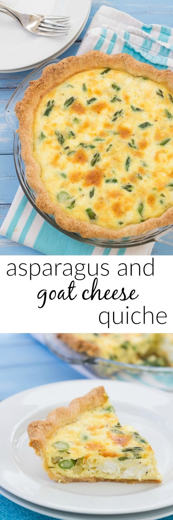 Easy recipe for Asparagus Quiche with Goat Cheese! A delicious vegetarian entree for breakfast or dinner!