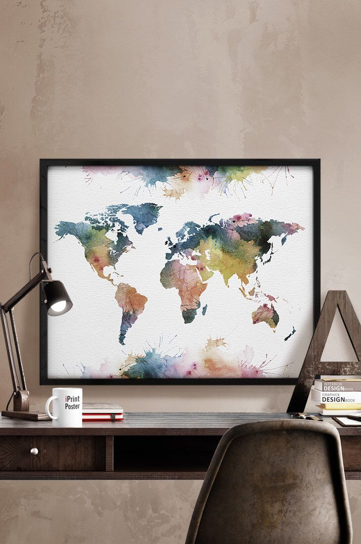 World map poster, Watercolor World map, Art Print,  Art, watercolour, World map art, Artwork, World map wall art, Home Decor, iPrintPoster. by iPrintPoster on Etsy https://www.etsy.com/listing/232575407/world-map-poster-watercolor-world-map