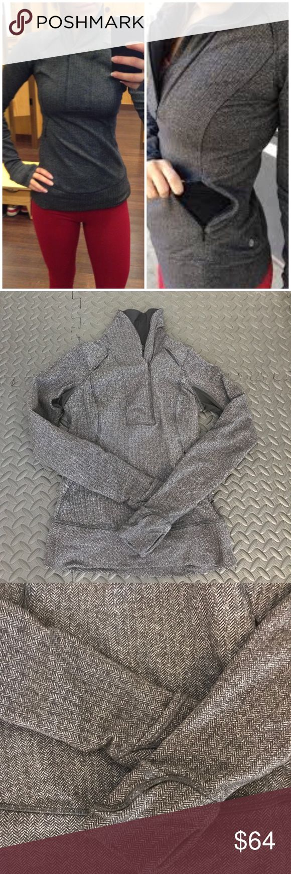 Euc lululemon think fast 1/2 zip pullover size 2 Excellent condition, lululemon think fast pullover 1/2 zip in Heather herringbone. Size 2. Key features soft Rulu fabric is sweat-wicking and four-way stretch durable LYCRA® fibres add great shape retention secure storage for keys, cards and cash low-profile details help you shine bright in low light flat seams are chafe-resistant Cuffins fingers  Fit + function designed for: run fabric(s): Rulu , LYCRA® fit: tight length: hip lululemon…