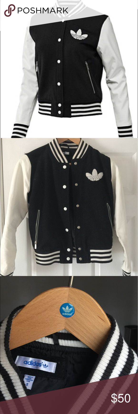Adidas Varsity Letterman Jacket Super cute sports jacket by Adidas Originals. Can dress this baby up or down! Scuffs on inside of sleeve from rubbing against body of the jacket. Scuffs aren't seen when jacket is on. Adidas Jackets & Coats