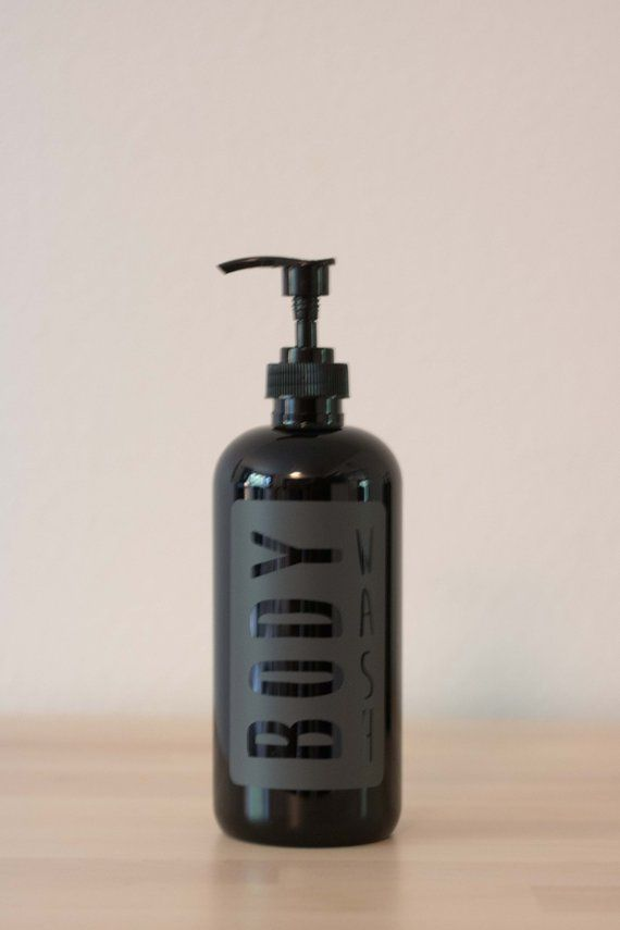 This Black Body Wash Dispenser With A Gray Vinyl Label Will Add The Perfect Amount Of Style To Your Shower The Plast Shampoo Bottles Glass Dispenser Body Wash
