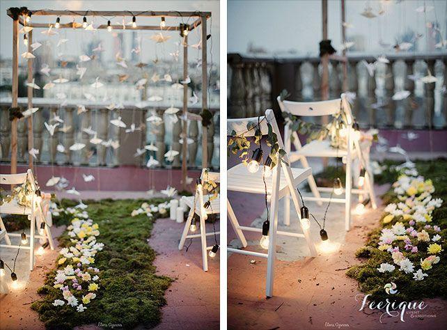 Свадьба для двоих на крыше, декор места торжества