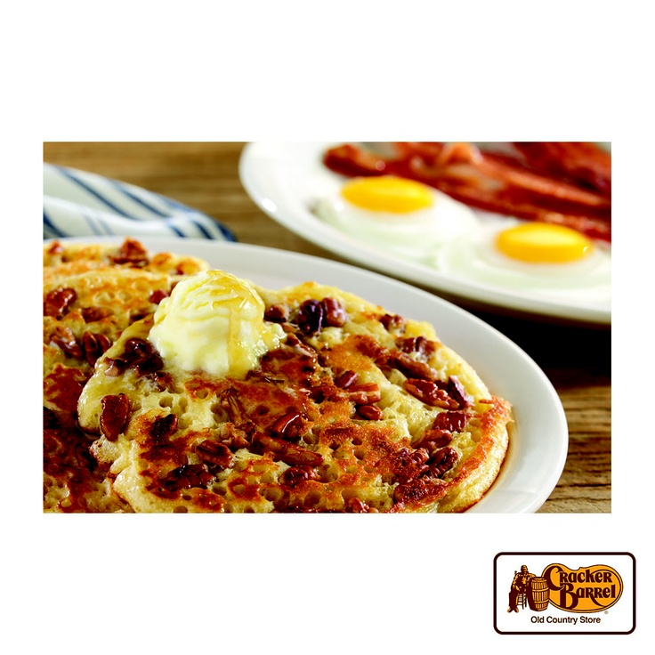 Enjoy our Pecan Pancakes fresh off the griddle with eggs and sausage or bacon.    Answer fun questions and you could win in the Cracker Barrel Old Country Store Pick it to Win it Sweepstakes. Start 'picking' your answers at crackerbarrel.com/win (ends Jan 2, 2013).