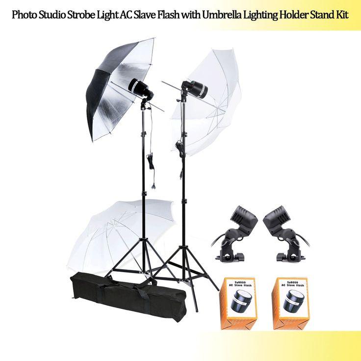 Photo Studio Stand Kit Strobe Light AC Slave Flash with Umbrella Lighting Holder #UnbrandedGeneric