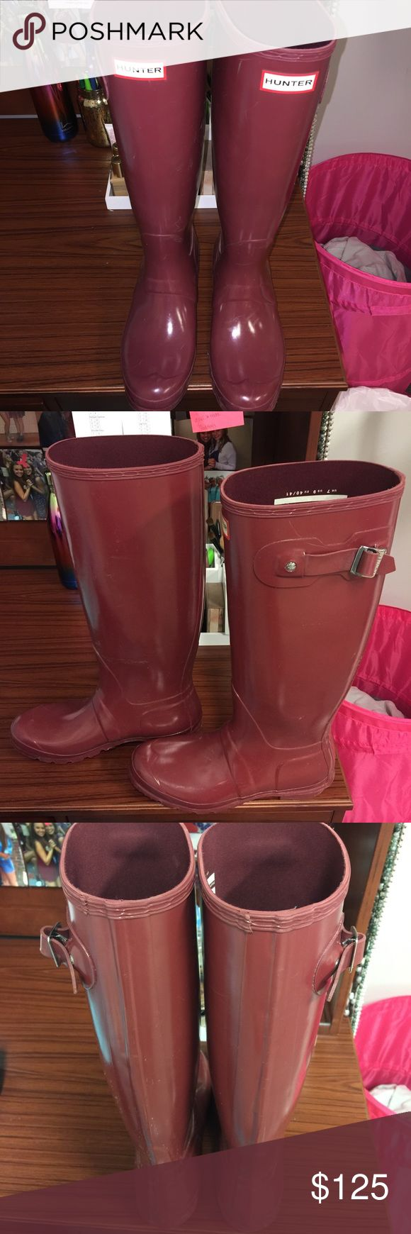 Maroon tall hunter rain boots Slightly worn. Hunter original brand. Tall boots. Price firm. Will clean up to ship. Hunter Boots Shoes Winter & Rain Boots