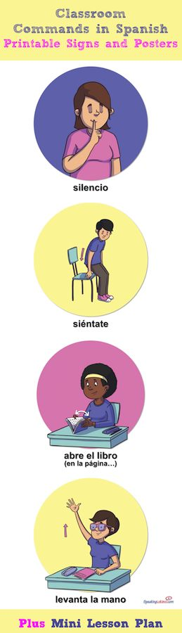 Free 50 Spanish Classroom Commands printable signs and posters plus two additional materials for Spanish Teachers to use during the beginning of the year. Download free materials: Classroom Commands in Spanish Mini Lesson Plan, First Day of School Student Survey, Spanish Class Procedures Booklet. Los mandatos de la clase.