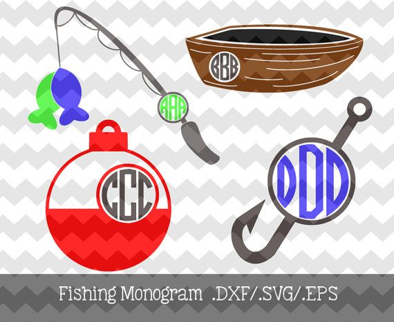 Fishing Monogram Frames .DXF/.SVG/.EPS Files by KitaleighBoutique