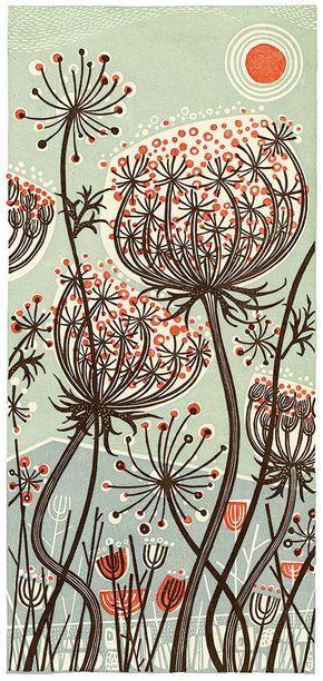 Blue Meadow - linocut by Angie Lewin - printmaker