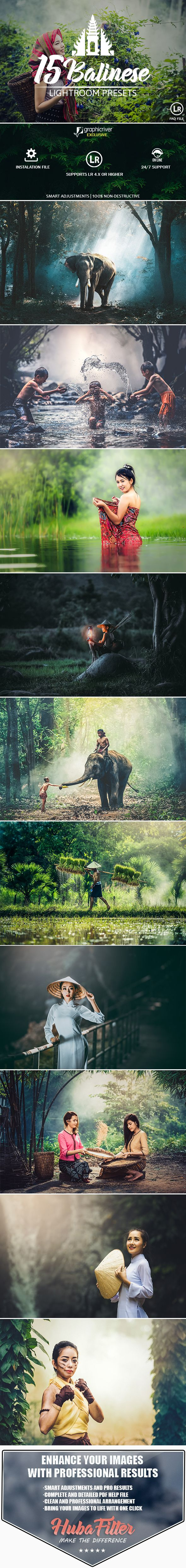 15 Balinese Pastel Premium Presets For Lightroom by HubaFilter About 15 Balinese Lightroom Presets:15 Balinese Presets for Adobe Lightroom are creatively designed to provide beautiful and effe