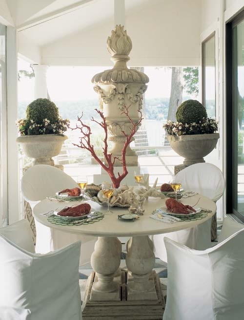 Beach House Al Fresco Dining   Coral Centerpiece, Boxwood Spheres In Urns,  Casual Slipcovers