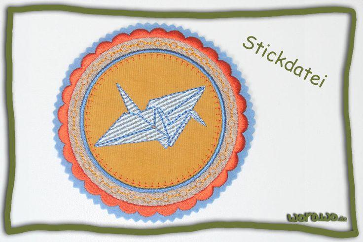 Stickapplikationen - Stickdatei Origami-Kranich - ein Designerstück von jumeaux-design bei DaWanda