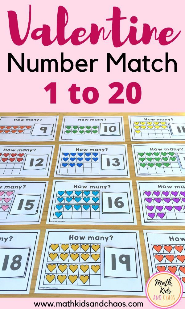 Valentine Number Match 1 20 In 2020 With Images Math