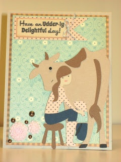 Country Life Cricut Card with girl milking a cow