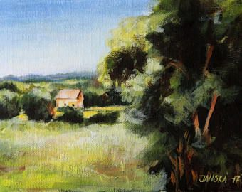Pintura paisaje, pintura de acrílico original, pintura rural, pequeña pintura