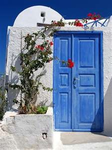 Oia, Santorini Greece: The Doors, Santorini Greece, Blue Sky, Blue By, Blue Doors, Red Flowers, Front Doors, White Wall, Colors Inspiration