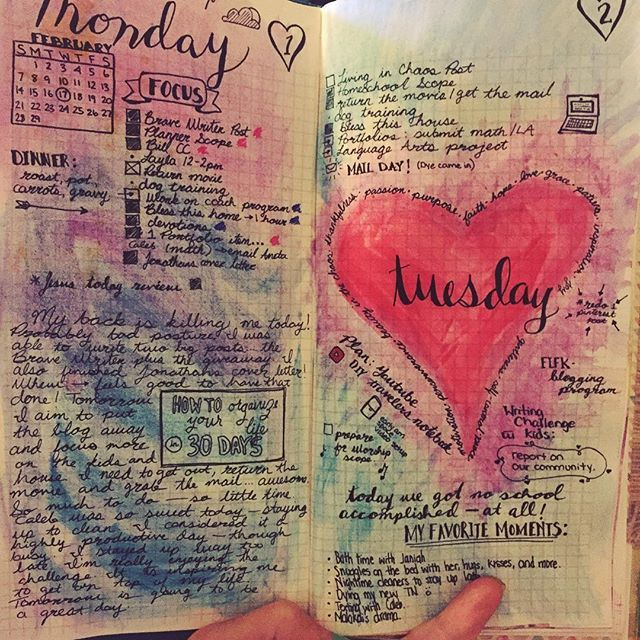 Yesterday's finished spread in my bujo. It looks so much better all filled in with writing. I ended up loving the heart with inspirational words all around it. Join me on Instagram for a new spread and bullet journal inspiration each day! bullet journaling | travelers notebook | planner | bullet journal layout | bullet journal spread | planner ideas