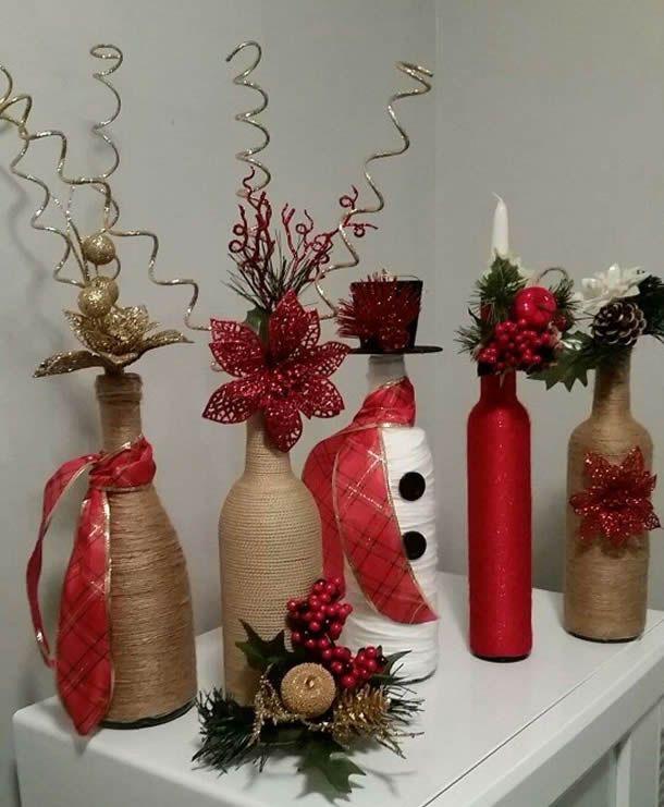 Aparador Sala Ikea ~ 25+ melhores ideias de Garrafas decoradas natalinas no Pinterest Garrafas decoradas natal