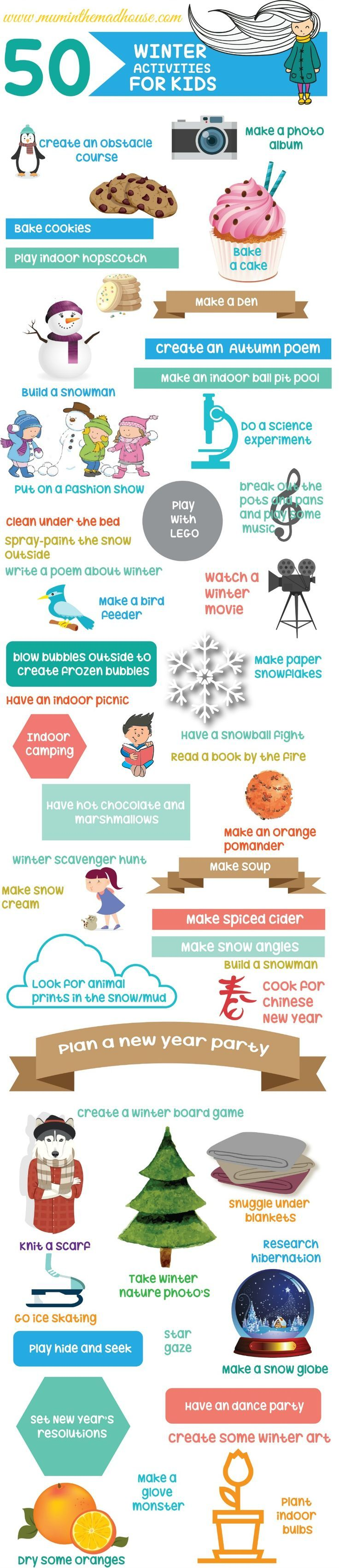50 winter activities for kids.  50 low cost or no cost winter activities (indoor and outdoor) for all the family.