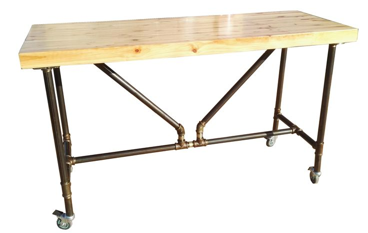 """Pipe Kitchen Table 600x1500x900mm Top = Re-cycled Pine Beam Base = 1"""" Steel Tubing"""