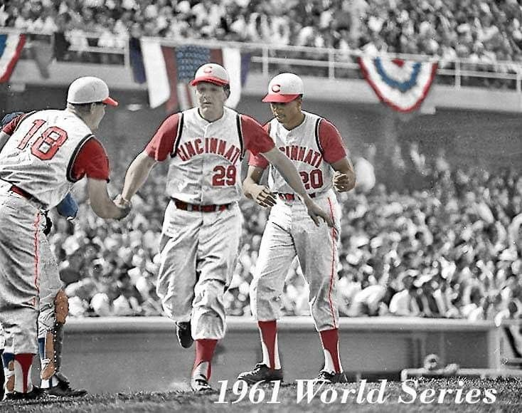 1961 Ws At Yankee Stadium Pictured Are Gordy Coleman Wally Post And Frank Robinson From 61 Famous Baseball Players Cincinnati Reds Baseball Cincinnati Reds