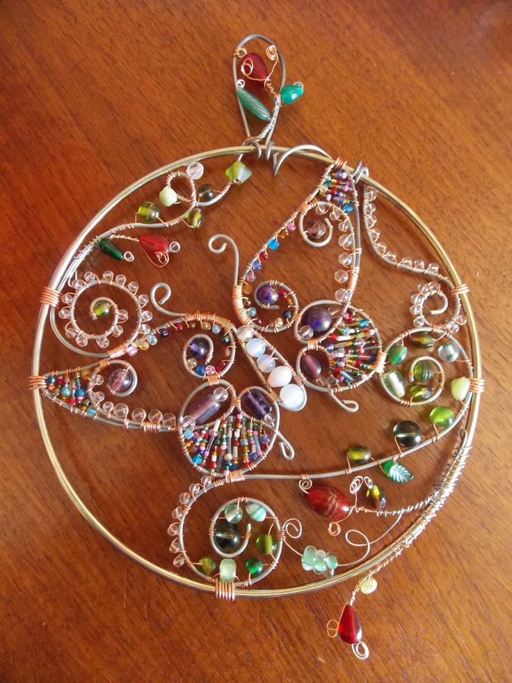Wire and glass bead suncatcher....Butterfly