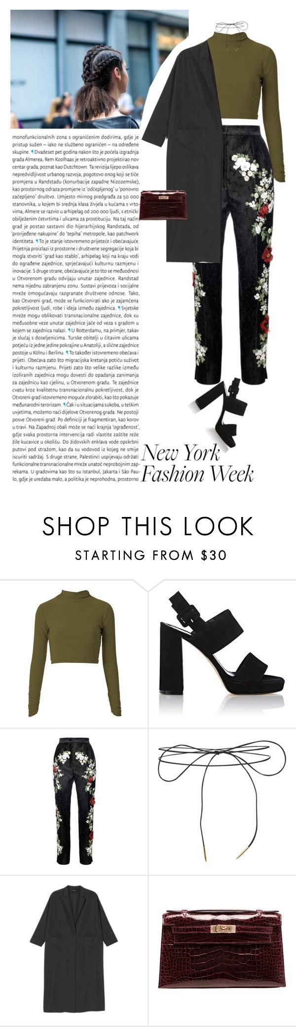 """""""NYFW : MILITARY FALL"""" by pgrndjn ❤ liked on Polyvore featuring Barneys New York, Dolce&Gabbana, Oris, Lilou, Monki, Hermès, StreetStyle and NYFW"""