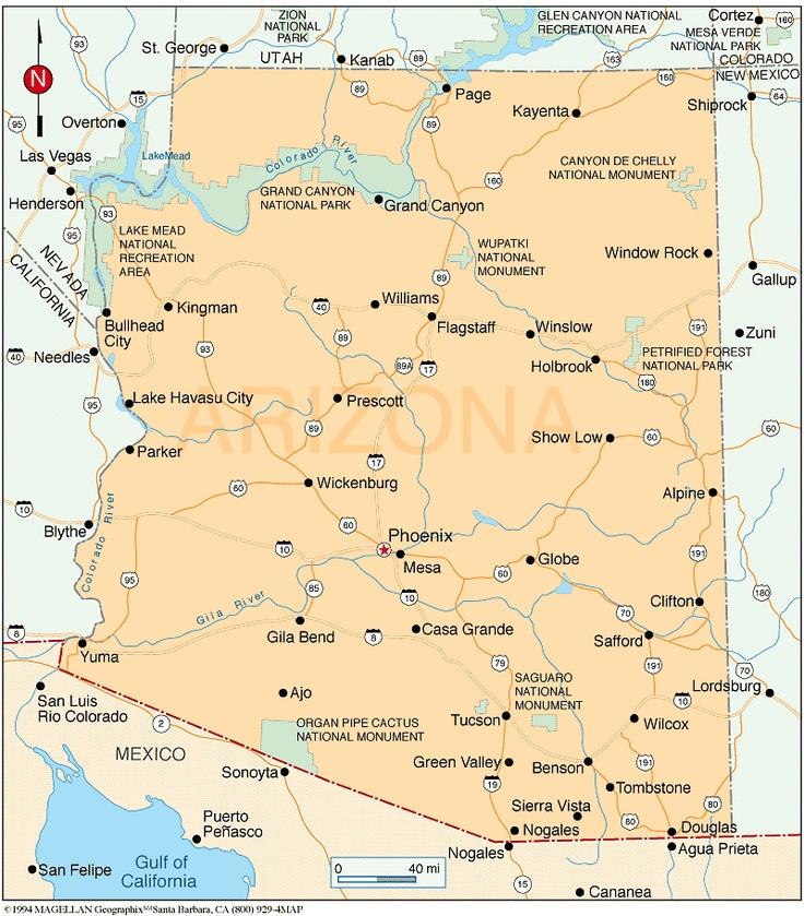 Phoenix Usa Map: Image Detail For - Az_map.gif (121234 Bytes)