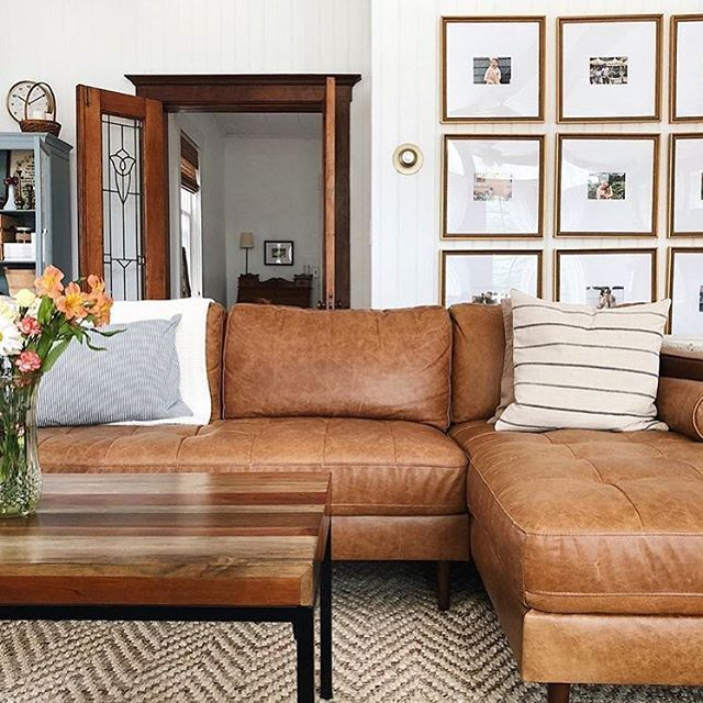 Kinsey Caramel 100 Leather Sectional Sofa Right Struct