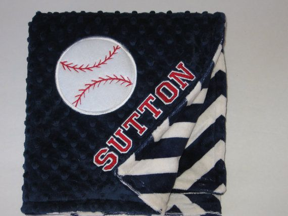 Personalized Baby Blanket Toddler Blanket Baseball by MoMaCreates