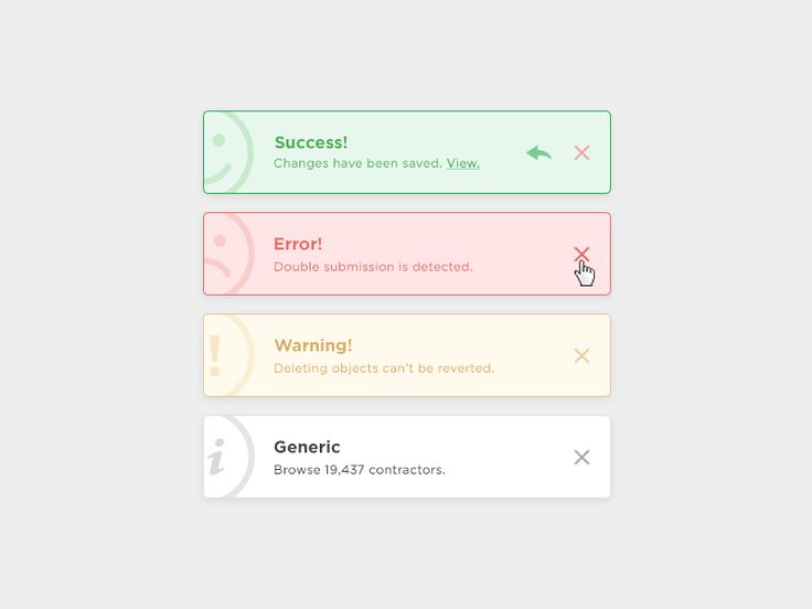 Hi guys, Toasts exploration for one of my current projects. Variations: - Success (should support text links and an undo button) - Generic - Warning - Error Have a great day! -- Alex