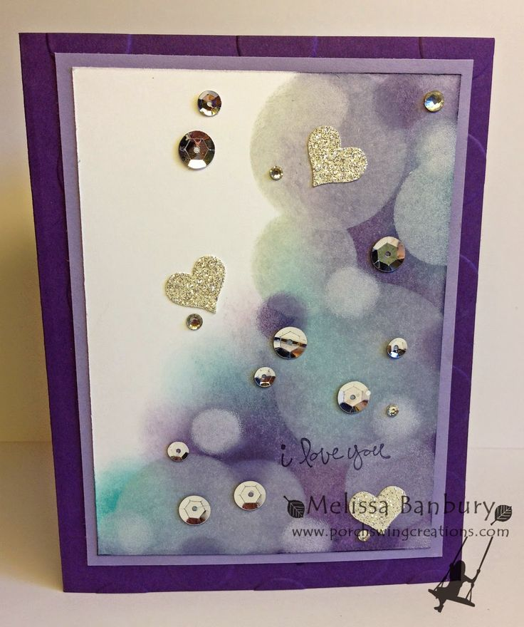 Porch Swing Creations: Bokeh Background Technique Video - Stamp Sets: Good Greetings Card Stock: Whisper White, Wisteria Wonder, Elegant Eggplant, Silver Glimmer Paper Ink: Perfect Plum, Elegant Eggplant, Bermuda Bay, Whisper White Craft Ink Accessories: Window Sheet, Circle Framelits, Heart from Itty Bitty Accents Punch Pack, Large Polka Dots EF, Basic Rhinestones, Silver Sequins, Multi-purpose Liquid Glue, Sponges