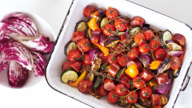 Roast eggplant and spicy chorizo salad
