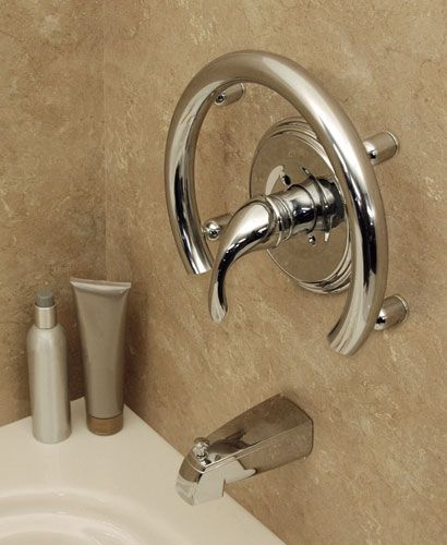 Accent Ring with integrated grab bar. A beautiful alternative to industrial looking grab bars.