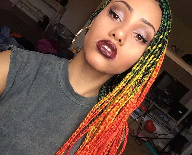 Pleasing 1000 Ideas About Colored Box Braids On Pinterest Box Braids 4C Short Hairstyles For Black Women Fulllsitofus