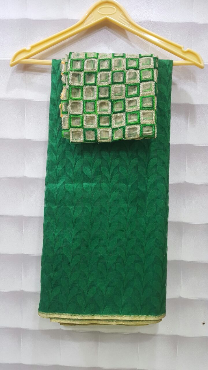 Latest jute sarees with designer blouse . These sarees available in different colors . More details below.   ...