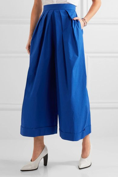 DELPOZO - Pleated Cotton-poplin Wide-leg Pants - Royal blue - FR