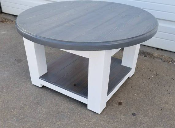 Round Farmhouse Coffee Table With Gray Stained Top And Lower Shelf Rustic Furniture Reclaimed Wood Table Farmhouse Style Coffee Table Farmhouse Reclaimed Wood Table Round Coffee Table Diy