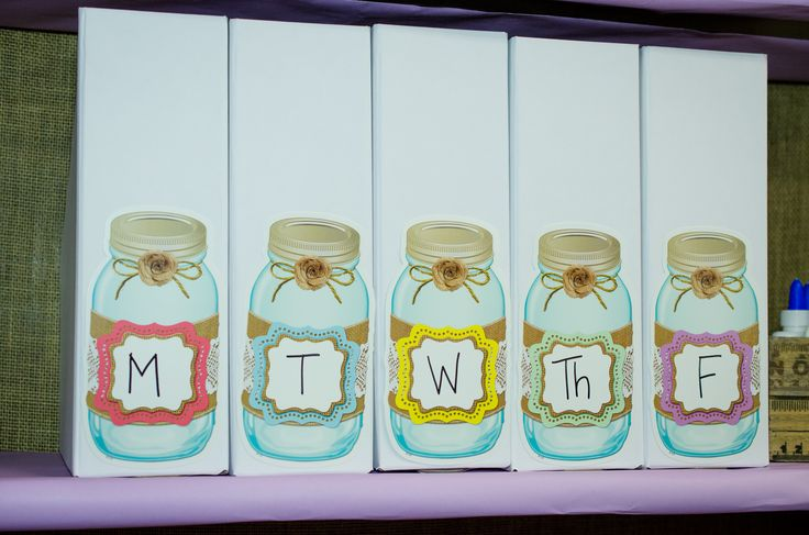 Classroom Tip: Use these adorable Shabby Chic Mason Jar Accents to magazine holders to organize lessons for each day of the week.